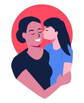 Daugther beijando sua mãe ilustração vector isolado