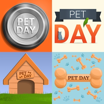Day pet banner set, estilo cartoon