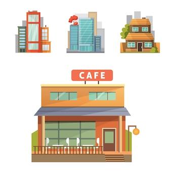 De casas de cidade retrô e modernas. edifícios antigos, arranha-céus. construção de casa de campo colorida, casa de café.