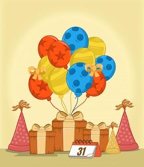 Dê com, enfeite de balão, aniversário de chapéu, calendário,