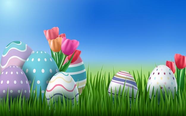 De feliz feriado da páscoa com ovo pintado, orelhas de coelho e flor