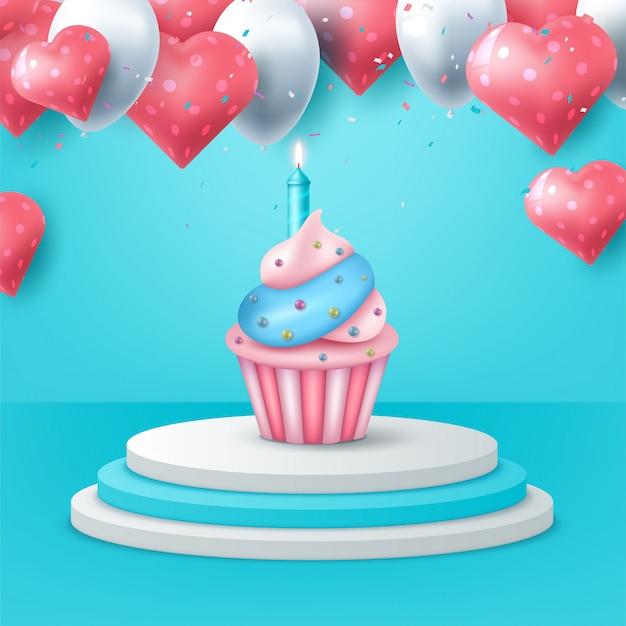 De fundo feliz aniversário com bolo e balão