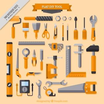 De fundo sobre ferramentas de carpintaria