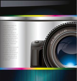 De fundo vector com a câmera e lugar para texto