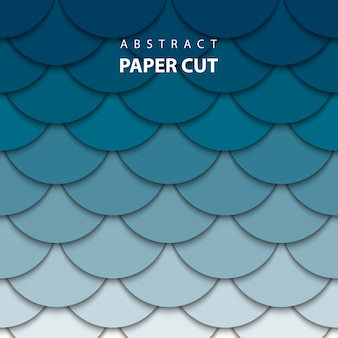 De fundo vector com corte de papel azul profundo