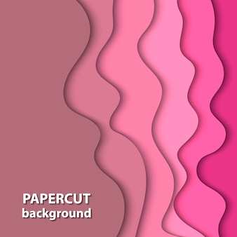 De fundo vector com corte de papel cor-de-rosa