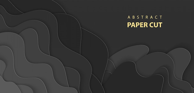 De fundo vector com corte de papel de cor preta