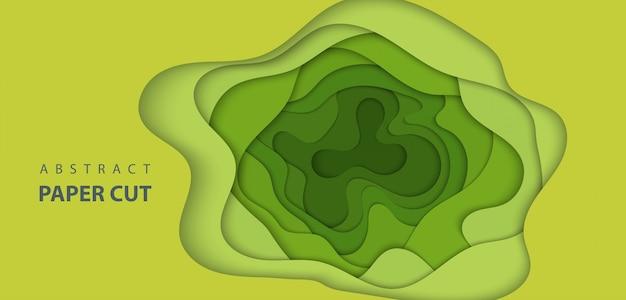 De fundo vector com corte de papel de cor verde clara