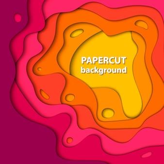 De fundo vector com corte de papel rosa e laranja