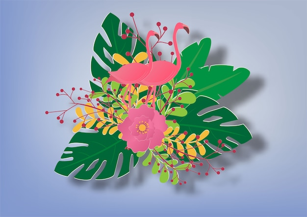 De fundo vector com flamingo e folhas