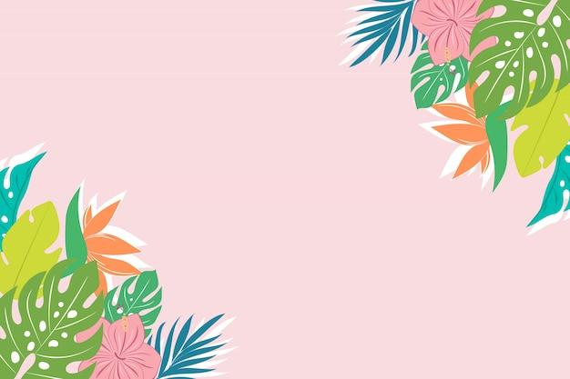 De fundo vector com folhas tropicais