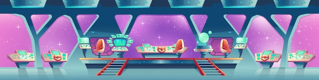 De fundo vector com interior de nave espacial