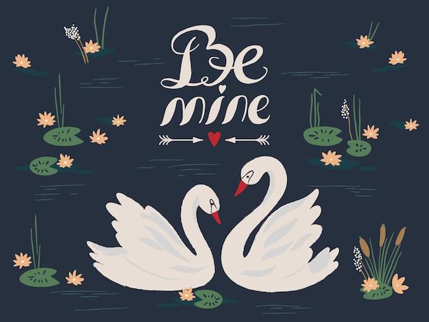 De fundo vector com lindos cisnes no lago. ilustração vetorial