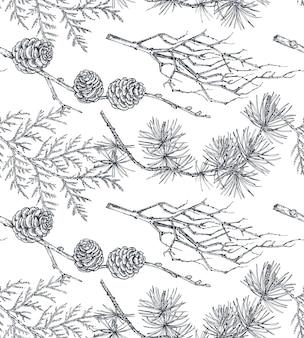 De fundo vector com mão desenhada árvores coníferas no estilo de desenho. padrão sem emenda com plantas e ramos. decoração de férias vintage.