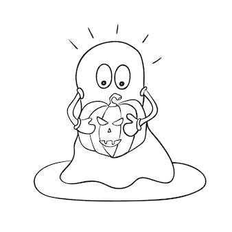 De fundo vector criativo com um fantasma bonito com abóbora de halloween. página para colorir engraçada para crianças. cor monocromática, preto e branco