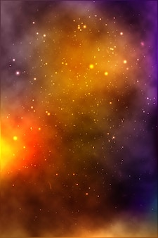 De fundo vector de um espaço infinito com estrelas, galáxias, nebulosas. manchas de óleo brilhantes e borrões com pontos brancos