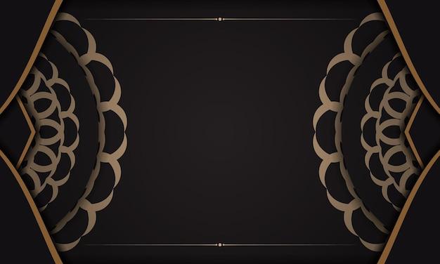 De fundo vector preto com ornamentos de luxo e lugar para o seu logotipo. design de cartão postal com ornamentos vintage.