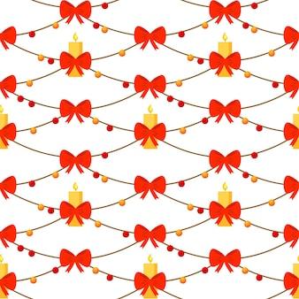De fundo vector sem costura natal com um laço vermelho, brinquedos para árvores de natal e uma vela de natal.