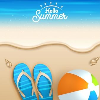 De fundo vector verão com elementos de férias.