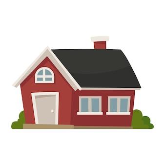 De ícone de casa vermelha detalhada legal.