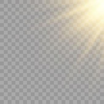 De luz do sol, raios brilhantes de iluminação em um fundo transparente