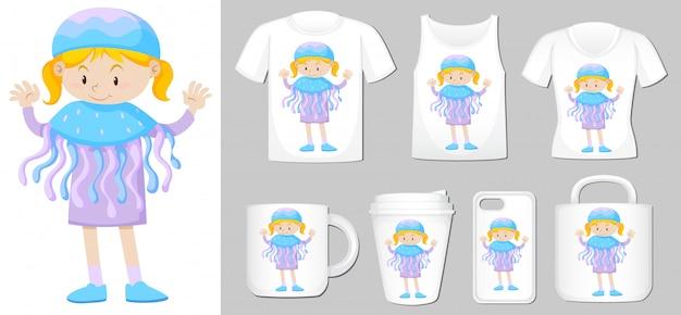 De menina em traje de água-viva em modelos de produtos diferentes