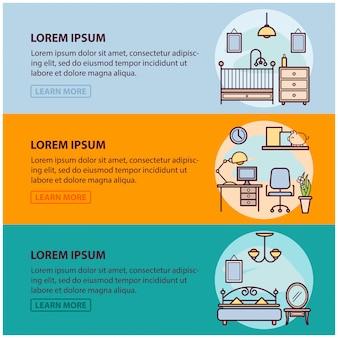 De modelo de banner da web com ícones de contorno de design de interiores e arte, decoração de apartamento em casa. modelo de ilustração para infográfico ou site