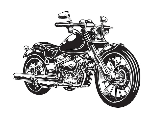 De motocicleta desenhada de mão isolada no fundo branco. estilo monocromático.