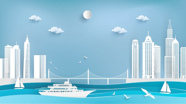 De navios de cruzeiro e cidades na arte de papel