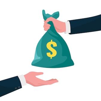 Dê o conceito de dinheiro. mão dando dólares para a outra mão. ilustração de finanças empresariais