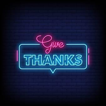 Dê obrigado néon estilo estilo texto vector