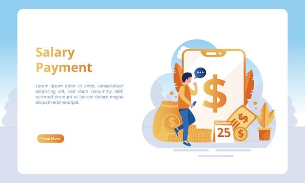De pagamento de salário para páginas de destino