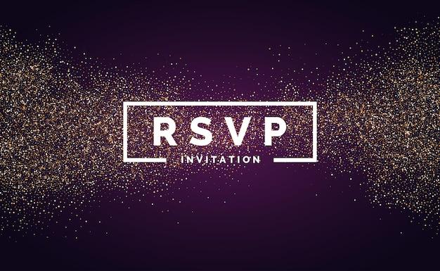 De rsvp. brilho de ouro. convite para o evento. ilustração vetorial