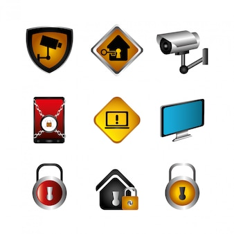 De segurança cibernética e ícones