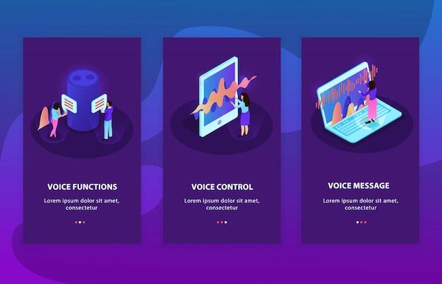 De três composições isométricas de publicidade que representam dispositivos com funções de controle e reconhecimento de voz