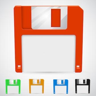 De um disquete em cores diferentes