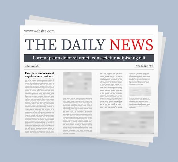 De um jornal diário em branco. jornal inteiro totalmente editável em máscara de recorte. ilustração das ações.