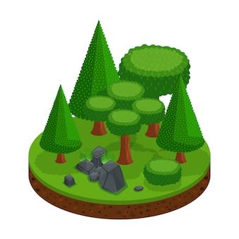 De uma floresta de árvores e coníferas, uma excelente paisagem para jogos, belas pedras com grama