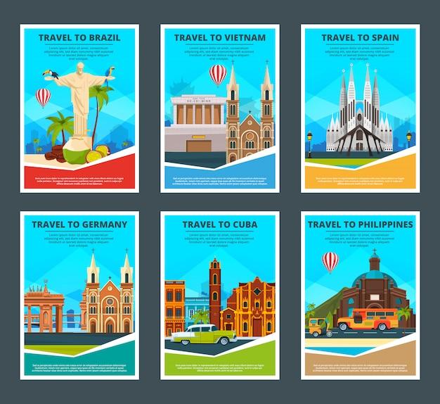 De vários cartões de viagem de monumentos famosos