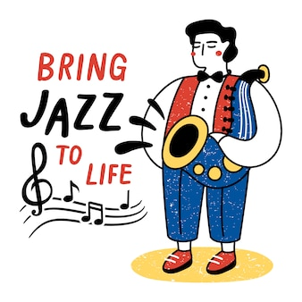 Dê vida ao jazz. desempenho, de, músico, ilustração
