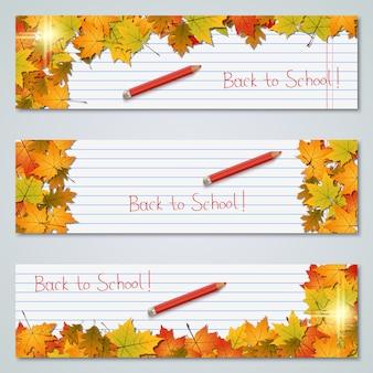 De volta à coleção de banners de outono outono de escola