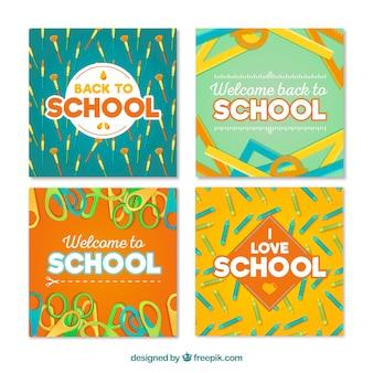 De volta à coleção de cartões de escola com design plano