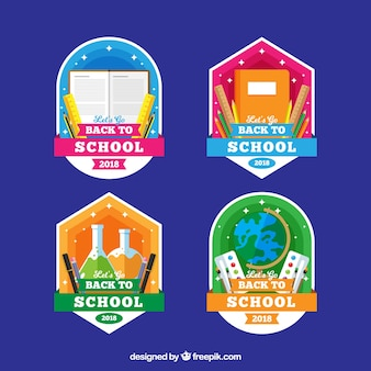De volta à coleção de etiquetas da escola com design plano