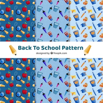 De volta à coleção de padrões de escola com design plano