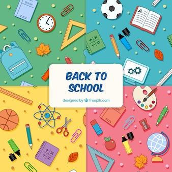 De volta à coleção de padrões de escola com diferentes elementos