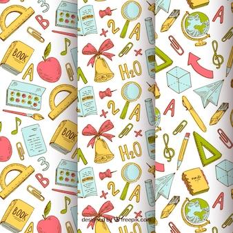 De volta à coleção de padrões de escola com elementos de mão desenhada