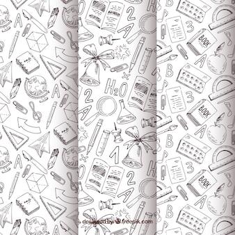 De volta à coleção de padrões de escola com elementos preto e brancos