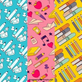 De volta à coleção de padrões de escola com livros e lápis
