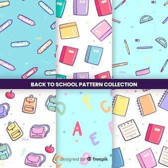 De volta à coleção padrão sem emenda de escola