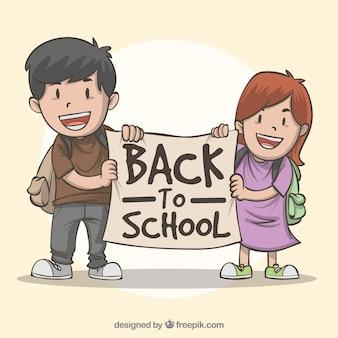 De volta à composição da escola com as crianças desenhadas a mão
